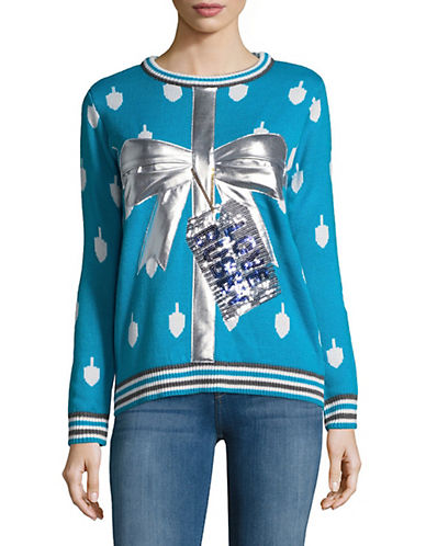 Faith & Zoe Metallic Bow Greetings Sweater-BLUE-Large