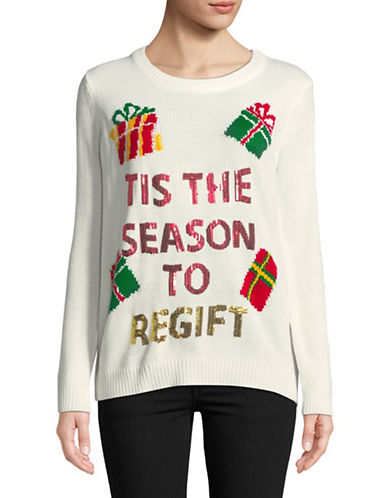 Faith & Zoe Sequined Greetings Sweater-WHITE-Large