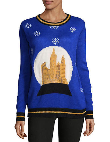 Faith & Zoe Snowflakes Greeting Sweater-BLUE-Medium
