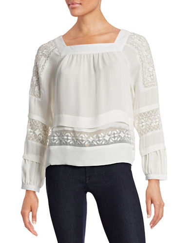 Rebecca Taylor Embroidered Silk Blouse-NATURAL-10