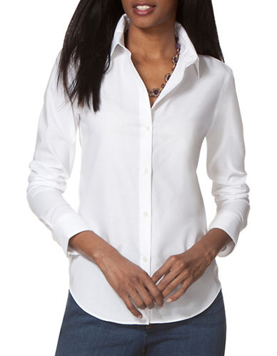 Chaps Petite Non-Iron Broadcloth Shirt-WHITE-Petite Medium