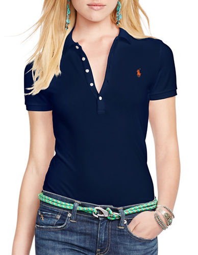 Polo Ralph Lauren Skinny Stretch Polo Shirt-BLUE-Medium