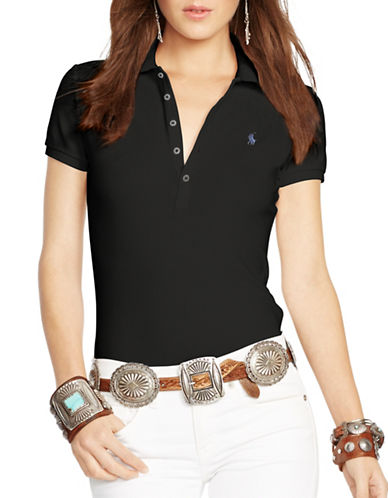 Polo Ralph Lauren Skinny Stretch Polo Shirt-BLACK-X-Small
