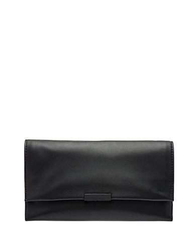 Loeffler Randall Leather Convertible Clutch-BLACK-One Size