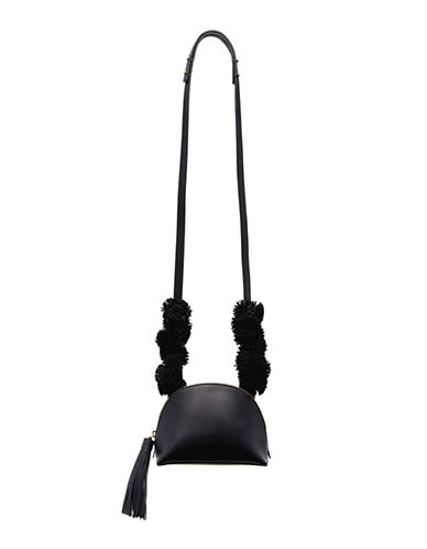 Loeffler Randall Tassel Crossbody Pouch-BLACK-One Size