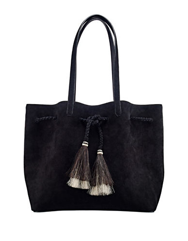 Loeffler Randall Suede Drawstring Tote with Horse Hair Tassels-BLACK-One Size
