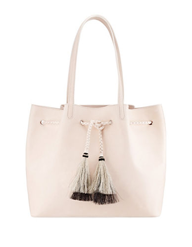 Loeffler Randall Suede Drawstring Tote with Horse Hair Tassels-SAND-One Size