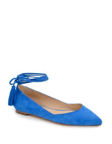Loeffler Randall Penelope Tassel Tie Ankle Wrap Flats-BLUE-6