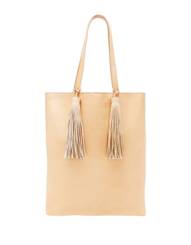 Loeffler Randall Cruise Tassle Leather Tote Bag-NATURAL-One Size