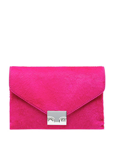 Loeffler Randall Snake-Embossed Junior Rock Clutch Bag-PINK-One Size