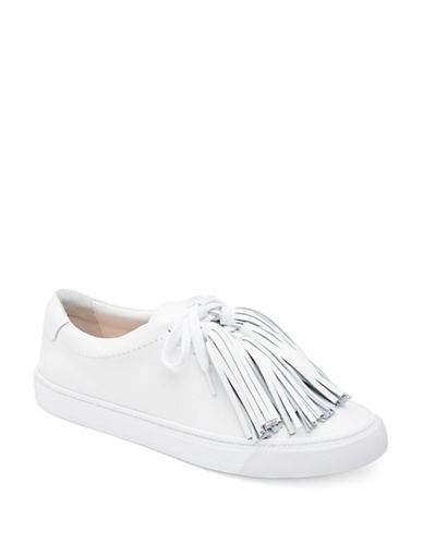 Loeffler Randall Logan Tassel Leather Sneakers-WHITE-6