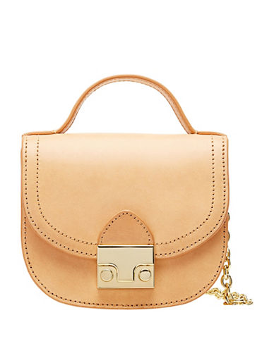 Loeffler Randall Mini Leather Saddle Bag-NATURAL-One Size