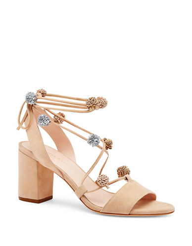 Loeffler Randall Bea Pompom Suede Sandals-NATURAL-8.5