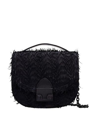Loeffler Randall Mini Fringed Leather Saddle Bag-BLACK-One Size