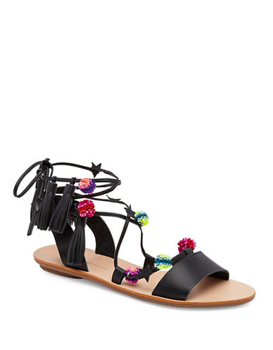 Loeffler Randall Suze Ankle Wrap Leather Sandals-BLACK MULTI-8