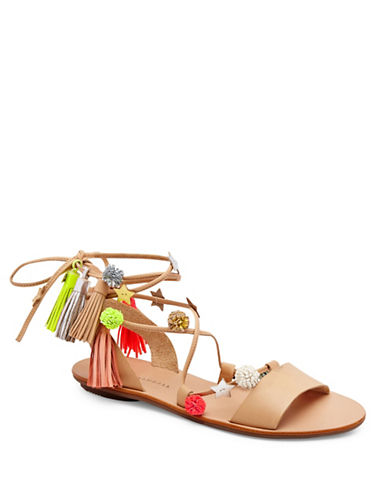 Loeffler Randall Suze Ankle Wrap Leather Sandals-WHEAT-8.5