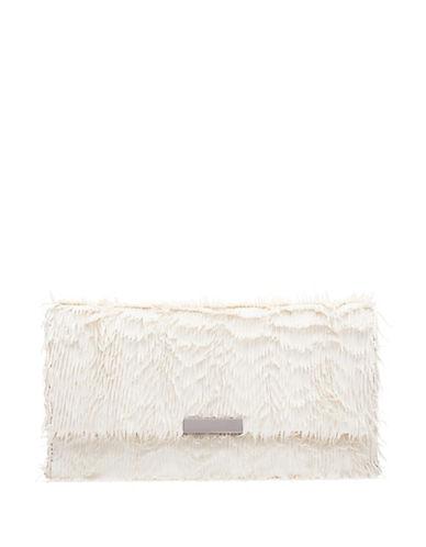 Loeffler Randall Small Fringed Leather Tab Clutch-BEIGE-One Size