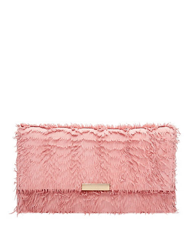 Loeffler Randall Small Fringed Leather Tab Clutch-MELON-One Size