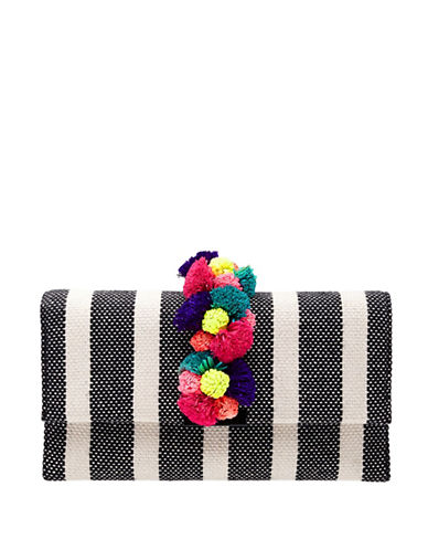 Loeffler Randall Multi-Coloured Pom-Pom Striped Tab Clutch-BLACK-One Size