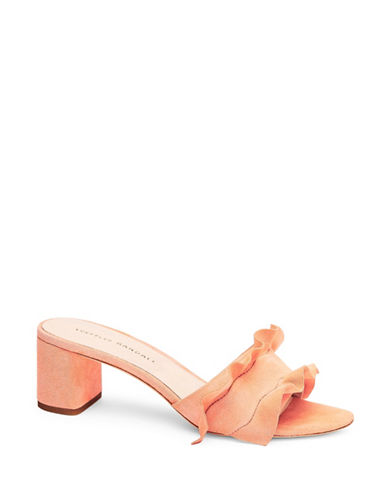 Loeffler Randall Vera Ruffle Suede Slide Sandals-MELON-8