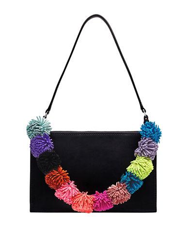 Loeffler Randall Multi-Coloured Pom-Pom Leather Zip Pouchette-BLACK-One Size