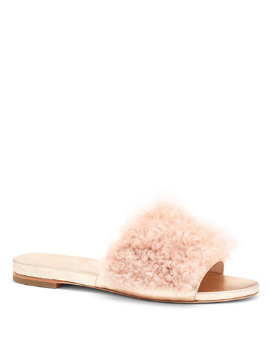 Loeffler Randall Domino Shearling Leather Sandals-PALE PINK-8.5
