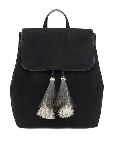 Loeffler Randall Tassel Drawstring Backpack-BLACK-One Size