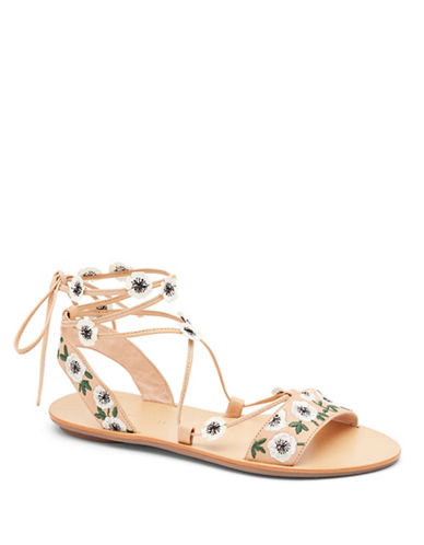 Loeffler Randall Fleura Lace-Up Leather Sandals-WHEAT-8