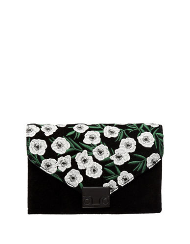 Loeffler Randall Floral Embroidered Suede Convertible Clutch-BLACK-One Size