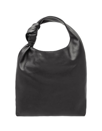 Loeffler Randall Knot Leather Tote-BLACK-One Size