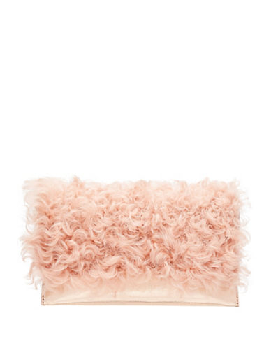 Loeffler Randall Shearling Tab Clutch-PINK-One Size