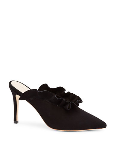 Loeffler Randall Langley Ruffle Suede Pumps-BLACK-EUR 40/US 10