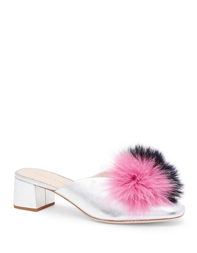 Loeffler Randall Lulu Fox Fur Leather Mules-SILVER-EUR 39/US 9