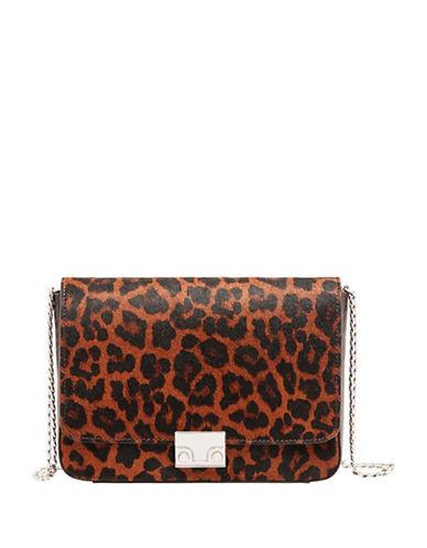 Loeffler Randall Lock Leopard Crossbody Bag-BROWN-One Size