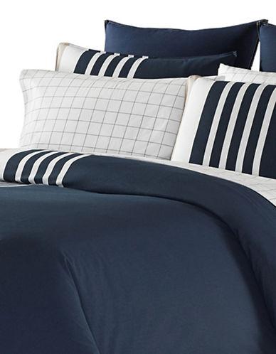 Nautica Aport Four-Piece Striped Comforter Set-NAVY-Queen