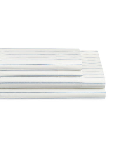 Nautica Beaufort Four-Piece Cotton Queen Sheet Set-WHITE/BLUE-Queen