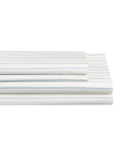 Nautica Beaufort Four-Piece Cotton Queen Sheet Set-WHITE/BLUE-Double