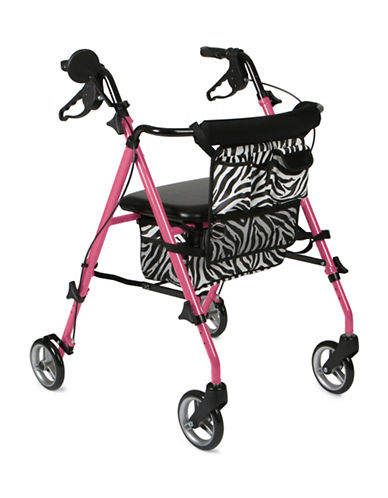 Medline Adult Posh Zebra Rollator-PINK-One Size