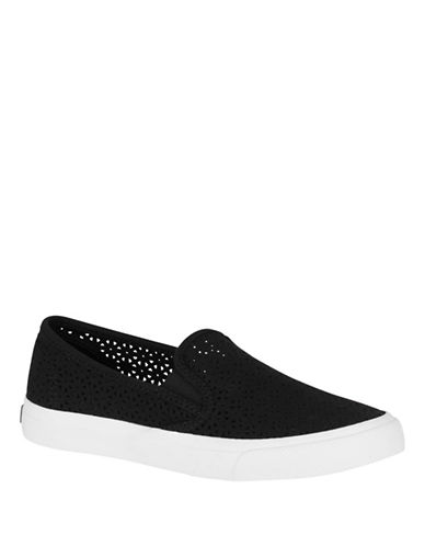 Sperry Womens Seaside Nautical Perforated Slip-On Sneakers-BLACK-7