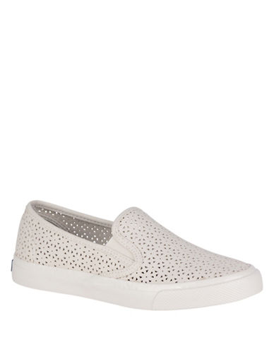 Sperry Womens Seaside Nautical Perforated Slip-On Sneakers-IVORY-9.5