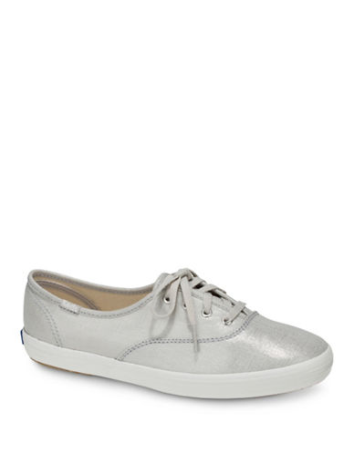 Keds Womens Champion Metallic Low Top Sneakers-SILVER-9.5