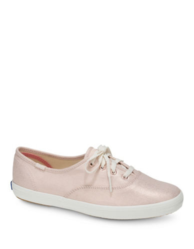 Keds Womens Champion Metallic Low Top Sneakers-ROSE GOLD-8.5