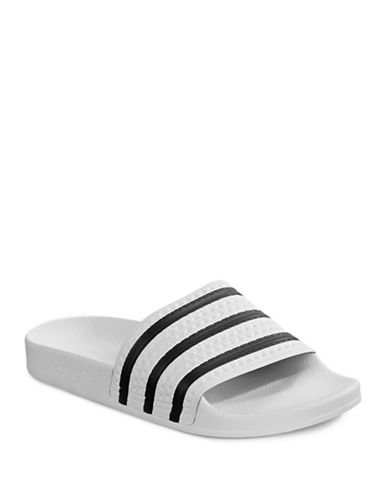 Adidas Striped Pool Slides-WHITE-12