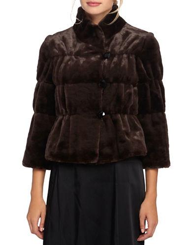 Tahari Quilted Faux Sable Jacket-BROWN-Medium 87747014_BROWN_Medium