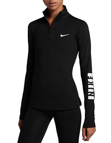 Nike Pro Warm Herringbone Top-BLACK-X-Small