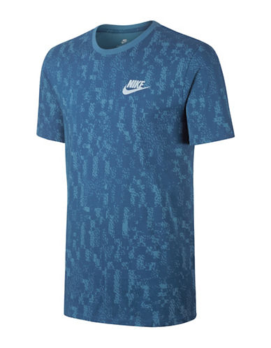 Nike Printed Crew Neck Cotton Tee-BLUE-Small