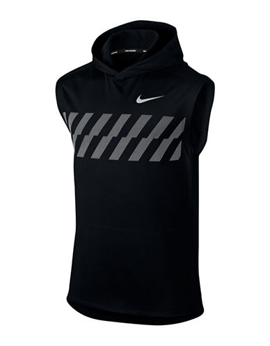 Nike Sleeveless Jersey Running Hoodie-BLACK-Medium