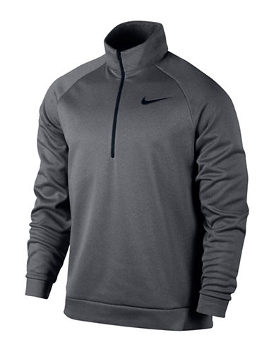 Nike Stand Collar Thermal Training Top-GREY-Large