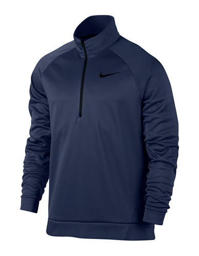 Nike Stand Collar Thermal Training Top-BLUE-X-Large