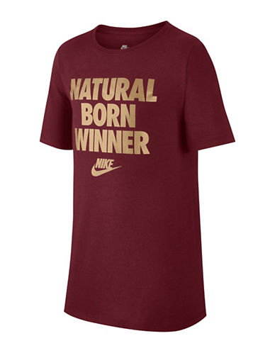 Nike Boys Statement Cotton Tee-PINK-14-16